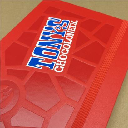 Moleskine notitieboek Rood bedrukt met eigen logo foliedruk en zeefdruk The Notepad Factory