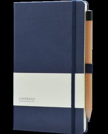 Castelli notitieboek bedrukt met eigen logo donkerblauw