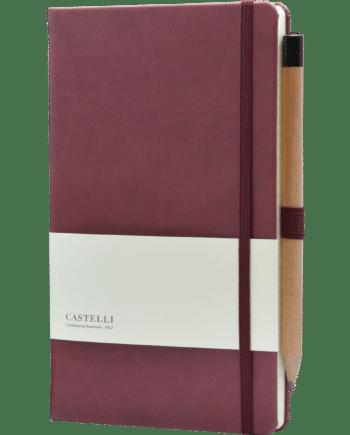 Castelli notitieboek in kleur bordeaux rood soft touch bedrukt met eigen logo en inclusief gratis potlood