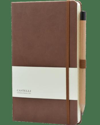 Castelli notitieboek soft touch bruin bedrukt met eigen logo inclusief potlood