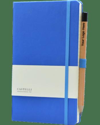 Castelli notitieboek bedrukt met logo kobalt blauw soft touch