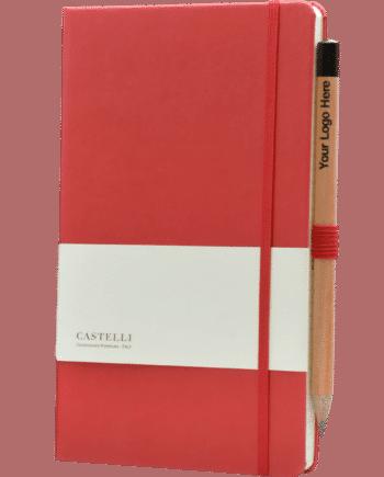 Castelli notitieboek bedrukt met eigen logo rood soft touch