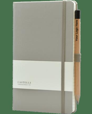 Castelli notitieboek kleur Taupe soft touch bedrukt met eigen logo inclusief gratis potlood
