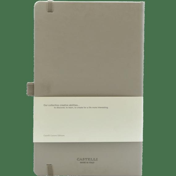 Castelli notitieboek soft touch taupe 639 achterzijde