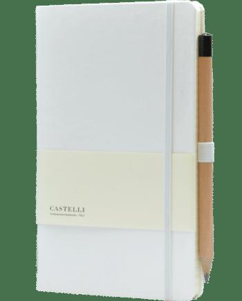 Castelli notitieboek soft touch wit bedrukt met eigen logo