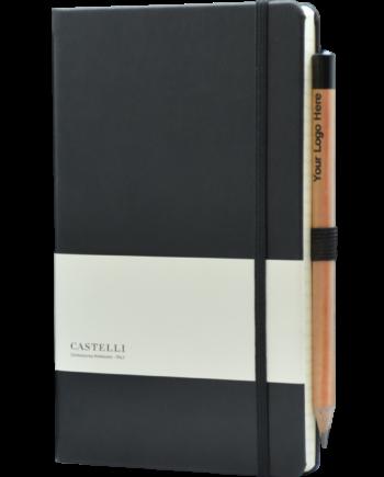 Castelli notitieboek bedrukt met logo soft touch zwart