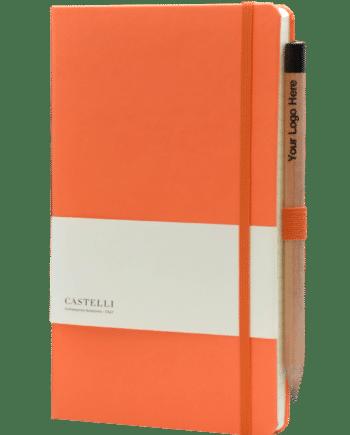 Castelli notitieboek kleur oranje soft touch bedrukt met uw eigen logo inclusief gratis potlood