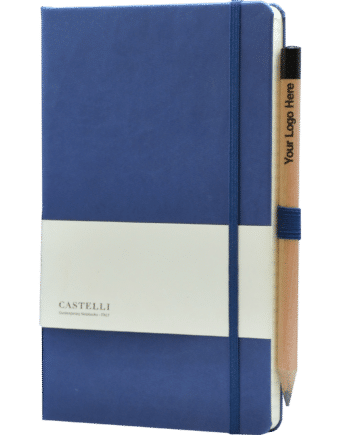 Castelli notitieboek bedrukken met eigen logo blauw