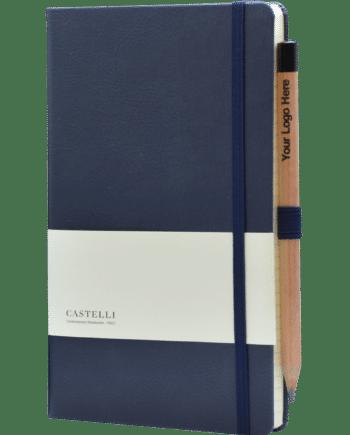 Luxe notitieboek bedrukt met eigen logo in kleur blauw Castelli