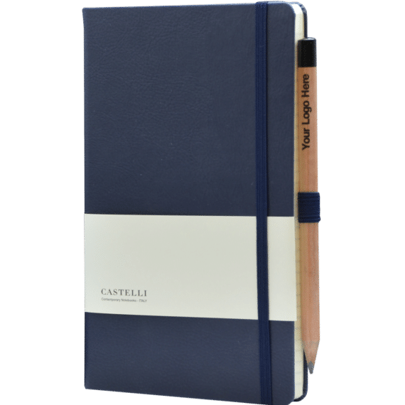 Castelli notitieboek Premium Lederlook Blauw 380