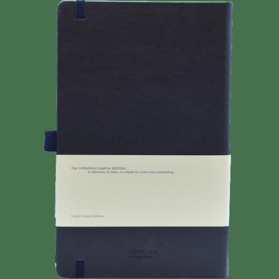 Castelli notitieboek Premium Lederlook Blauw 380 achterzijde