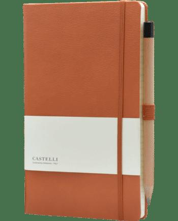 Castelli notitieboek luxe lederlook kaft bruin bedruk met eigen logo