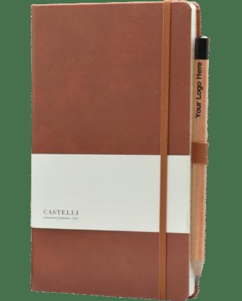 Castelli notitieboek luxe uitvoering bedrukt met eigen logo lederlook kleur bruin