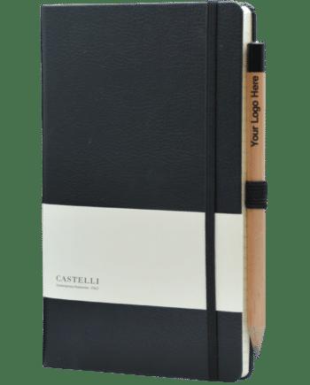 Luxe notitieboek bedrukt met eigen logo Castelli zwart
