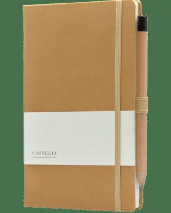 Castelli notitieboek luxe lederlook bedrukt met eigen logo kleur cognac bruin