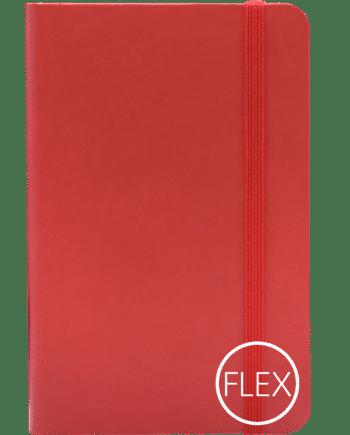 Castelli notitieboek met flexibele kaft bedrukt met eigen logo rood
